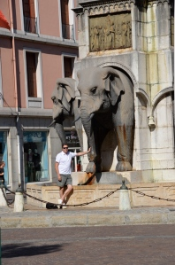 Scott by the Elephant Fountain (four elephants with no behinds!)